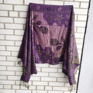 Floral Purple Pashmina Fringe Green Soft